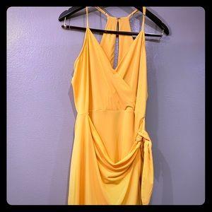 Never worn, designer, wrap, yellow sundress